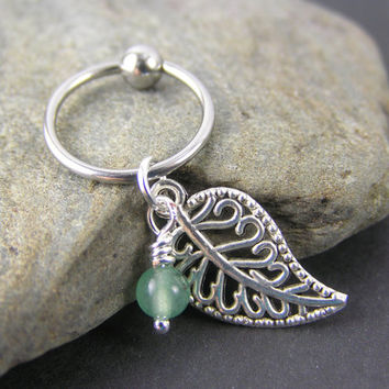 Organic Filigree Leaf & Green Jade Captive Bead Ring 14g 16g CBR Gauge Cartilage Hoop Helix Conch Earring Belly Button Body Piercing Jewelry
