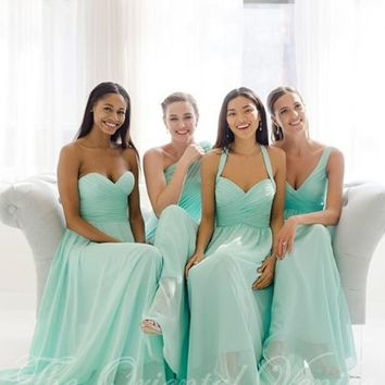2017 Cheap Long Chiffon Teal Mint Green Bridesmaid Dresses In Stock Summer Beach Wedding Party Gowns Plus Size Vestidos madrinha
