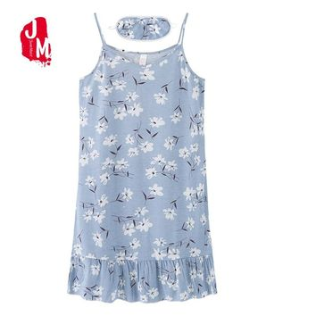 Sexy Cotton Nightgown Women Sleeveless Strap Nightwear Cute Sleepwear Night Dress Home Sleepshirt Nighty M-XXXXL With Eye Mask