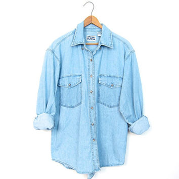 Washed Out Faded Denim Shirt Button Up Slouchy Boyfriend Jean Shirt Chambray Minimal Boho Tomboy Slouchy Top DELLS Vintage Womens SMALL