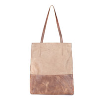 SALOSO BUFFALO LEATHER TOTE IN TAN
