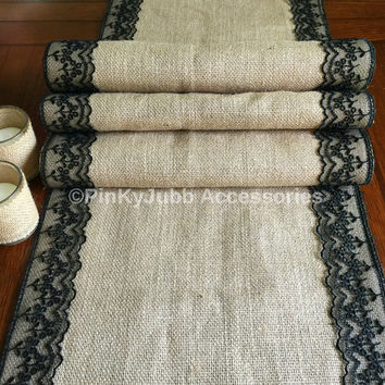 rustic burlap table runner with black color lace trim, rustic wedding, engagement table decoration runner
