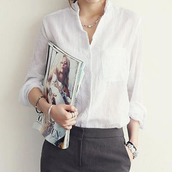2017 New Summer Fashion Women Shirt Linen Full Sleeve Solid Color Slim Fit Shirt Casual Female Blouse With Pocket Women Clothes