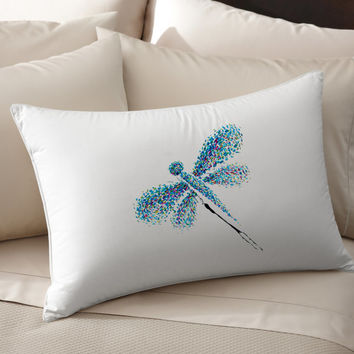 2 Colorful Decorative Dragonfly silk Pillow case pillow cover pillowcase cushion handmade koby feldmos 18X18 inch 20X30 inch white color