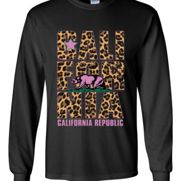 California Republic Leopard Print Text Long Sleeve Shirt