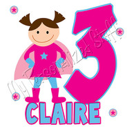 Personalized Custom SUPER HERO Birthday Party Name Age Pink Hot pink Girl T shirt Tee stick figure