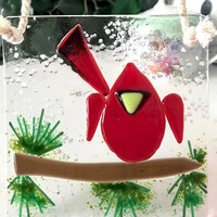 Cardinal on Branch Fused Glass Suncatcher