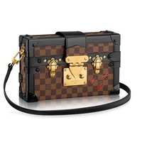 Louis Vuitton Damier Canvas Petite Malle Leather Strap Handbag Article: N41003 Made in France