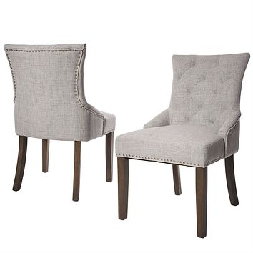 Set of 2 - Traditional Grey Linen Fabric Upholstered Dinging Chair, Nail-head Trim