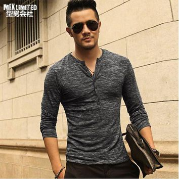 DCCKON3 New Men Henley Shirt 2018 new Tee Tops Long Sleeve Stylish Slim Fit T-shirt Button placket Casual men Outwears Popular Design