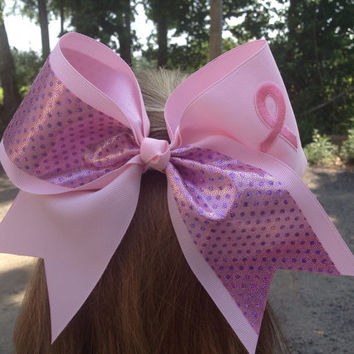 Breast Cancer Cheer Bow - Pink 3 inch ribbon