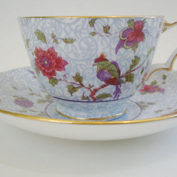 Floral Chintz and Bird Cup & Saucer. Crown Staffordshire. Gorgeous!