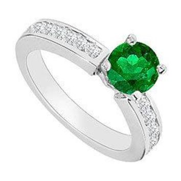 14K White Gold : Emerald and Diamond Engagement Ring 0.80 CT TGW