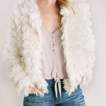 Elle Cream Faux Fur Layered Jacket