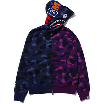 COLOR CAMO HALF & HALF SHARK FULL ZIP HOODIE