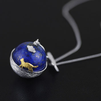 Cosmic Cat's Dream 925 Sterling Silver Pendant Necklace