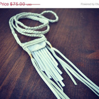 ON SALE SUMMER Dawn Druzy Fringe Tassel Tribal Braided Leather Gypsy Boho Necklace