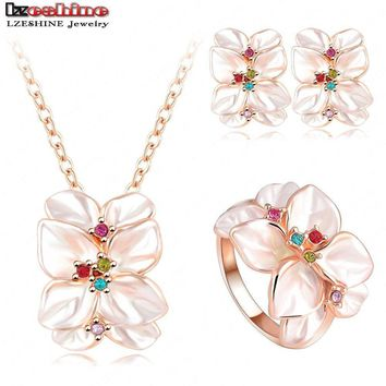 2016 Best Seller Jewelry Set Rose Gold Plate Austrian Crystal Enamel Earring/Necklace/Ring Flower Set Choose Size of Ring ST0002