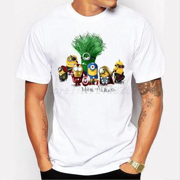 Asian Size Minions Avengers Costume Comics Superhero men t-shirt Ironman Superman Captain America The Hulk printed funny tops