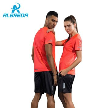 ALBREDA Couple Clothes New Sport Suit Men/Women T-shirts Shorts Jersey Quick drying Tracksuit Jogging Fitness sportswear Gym set