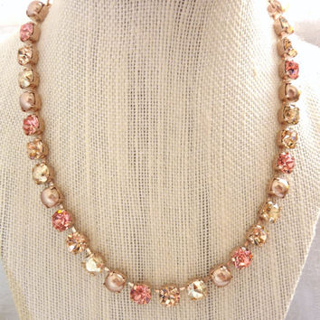 Swarovski crystal necklace, 8mm light peach, pearl, rose gold designer inspired crystal necklace, GREAT PRICE by Siggy
