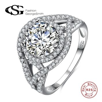 GS 925 Sterling Silver Created White Crystal Wrap Stackable Ring Engagement Wedding Eye Extreme Luxury Rings For Women