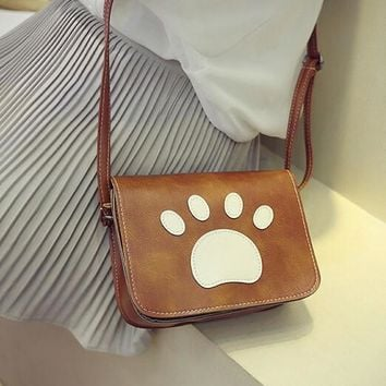 women bear s paw print shoulder bag leather messenger hobo bag satchel tote purse handbag gift 2