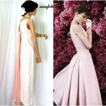 Vintage 60s formal dress XS 1960s Audrey Hepburn pink lace maxi prom evening gown size 3 / 5  SunnyBohoVintage