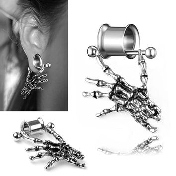 Stainless Steel Punk Skeleton Ear Plugs And Tunnels Skull Expansions Piercing