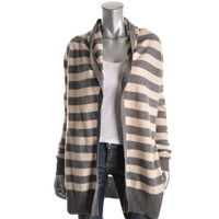 Joie Womens Suzette B Striped Cashmere Cardigan Sweater