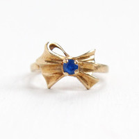 Vintage 10k Yellow Gold Created Blue Spinel Bow Motif Ring - Retro Mid Century Size 3 1/2 Simulated Sapphire Fine Pinky Ring Jewelry