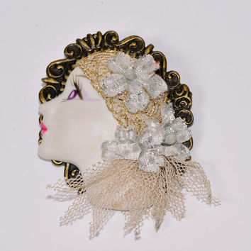 Lady Head Brooch Vintage