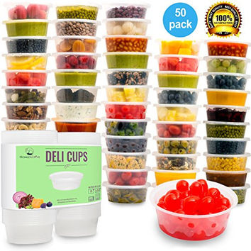 HomeNative Leakproof Plastic Food Storage Container with Lid, 8.5 oz., Pack of 50