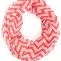 The Wave I Walk Coral Chevron Infinity Scarf