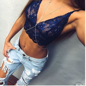 Sexy Stylish Fashion Spaghetti Strap Lace Vest(Vest Only)