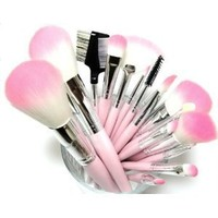 16 Piece Pink Synthetic Vegan Makeup Brush Set with Pink Bow Bag
