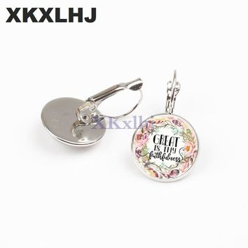 XKXLHJ New Fashion Bible Scripture Earrings Handmade Art Picture Glass Dome Charm Earrings Psalm Quote Jewelry Christian Gifts