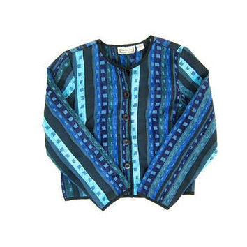 Vintage Quilted Jacket BOHO Ethnic Print Blazer Cropped Cotton Jacket Bohemian Blue Striped Coat Button Up Chenille Jacket Womens Medium