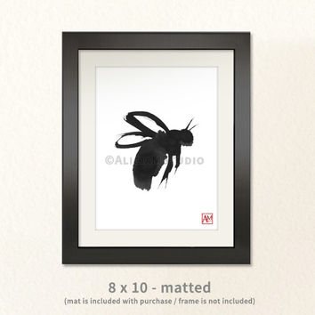 Mother's Day Gift, Bee, Bumblebee, Ink Painting Print, Cute, Bug, Insect, Nature, Asian, Sumi-e, Wall Art, Home Decor, 5x7, 8x10, 11x14