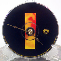 CD Clock, Desk Clock, Wall Clock, Nine Inch Nails - Broken, Recycled Music Compact Disc, Upcycle, Battery, Wall Hanger & Stand