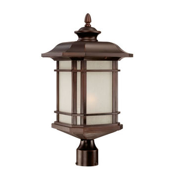 Acclaim Lighting 8127ABZ Somerset Architectural Bronze Large 22.5-Inch Post Lantern with Frosted Clear Seeded Glass