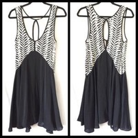 Zebra Print Free People Black/White Dress Sz XS