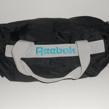 Vintage 80s Reebok duffle duffel Bag Black with Vintage Teal Reebok logo Gym Bag Purse Overnighter