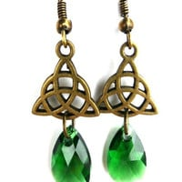 Celtic knot bronze charms and dark green Swarovski crystals, earrings.