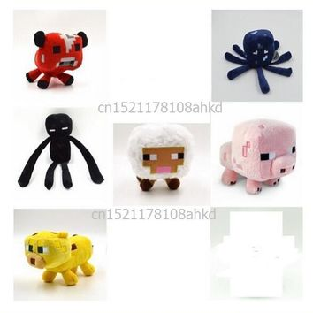 Minecraft Stuffed Plush Toy Game Doll Spider Mooshroom Sheep Enderman Ocelot Zombie Pig Squid Archer Bat Wolf Children Kid Gift