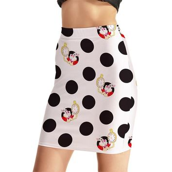 White Color Women Sexy High Waist Skirts Tennis Bowling Skirts Slim Sweet Dots Elastic Sport Female Girl Party Apparel S-4XL