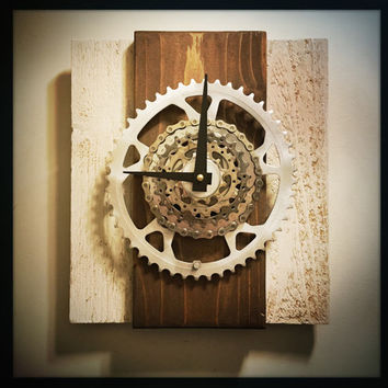 Reclaimed Wood Bicycle Wall Clock, Bike Gift For Men, Rustic Bike Clock, Shimano Gift, Unique Wall Clock, Gift For Cyclist, Large Wall Clock