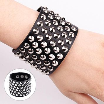 Rock Style Six Row Cuspidal Spikes Rivet Stud Wide Cuff PU Leather Punk Gothic Bracelet for Women Men Unisex CX17