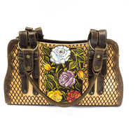 Beautiful engraved leather handbag with a hand-painted Mexican floral design