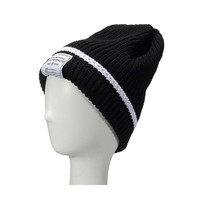 Black Beanie Hat with Label Detail
